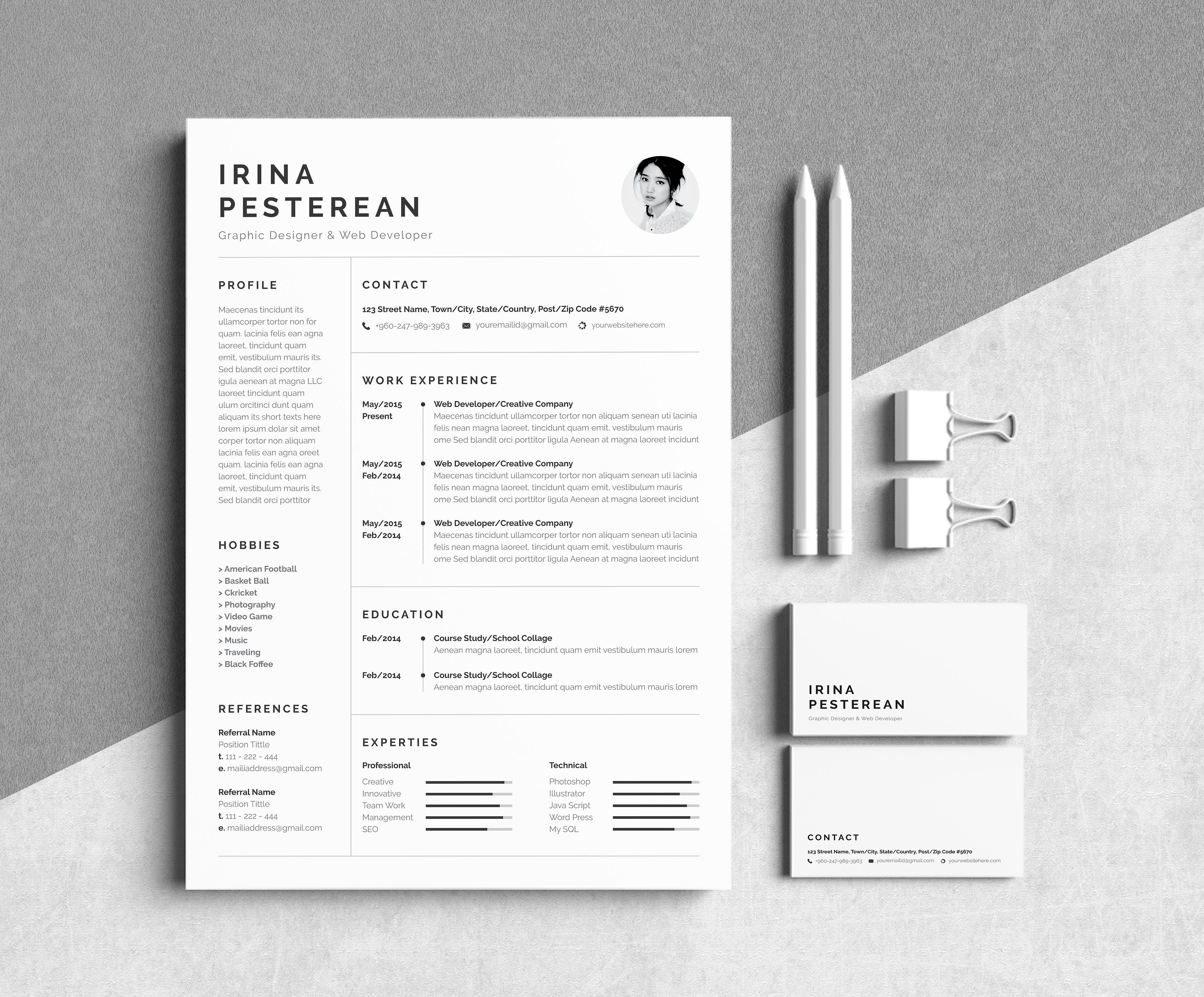 Resume Cv Irina Pesterean With Images Resume Design Template