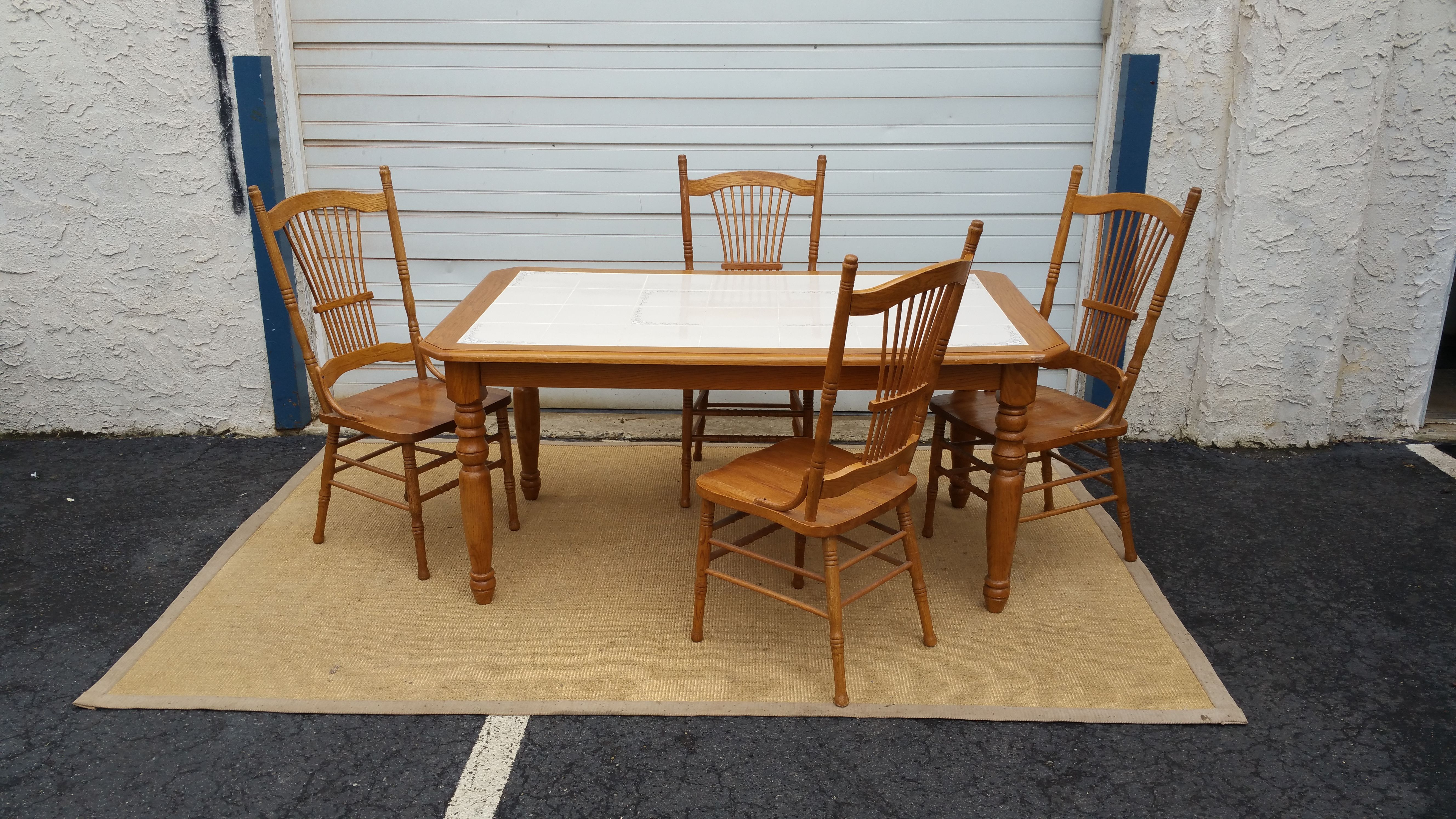 Tiled Kitch Table Set W 4 Chairs Outdoor Furniture Sets Shabby Chic Table And Chairs Wooden Dining Room Chairs