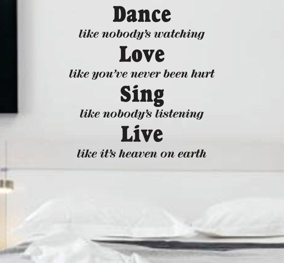 Dance Like Nobodys Watching Quote Wall Decal Sticker Teen Love - Wall decals quotes for teenagers