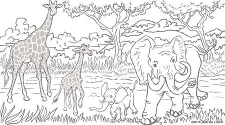 Good Free Animal Coloring Pages For Adults | Coloring Pages Of Elephant And  Giraffe