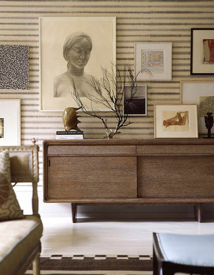 Thom Filicia   Mid Century Modern Living Room Design With Walnut Credenza,  Ivory Gray Blue Striped Walls, And Art Gallery.