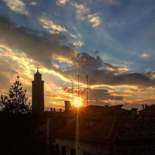 Views from the office on Friday evening are the best! #Venice #sunset #beautiful #igers #igersvenice #belltower #tower #sky #skyporn