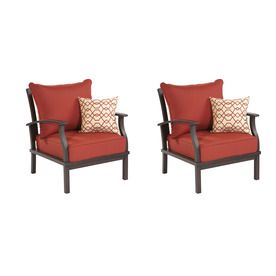 Allen Roth Set Of 2 Gatewood Cast Aluminum Patio Chairs With Solid Red Cushion 1159ss