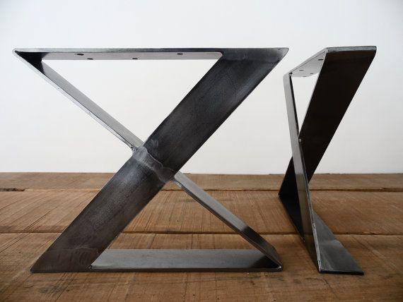 16 39 39 x frame de hauteur plat acier table jambes banc par for Meuble bureau jambes