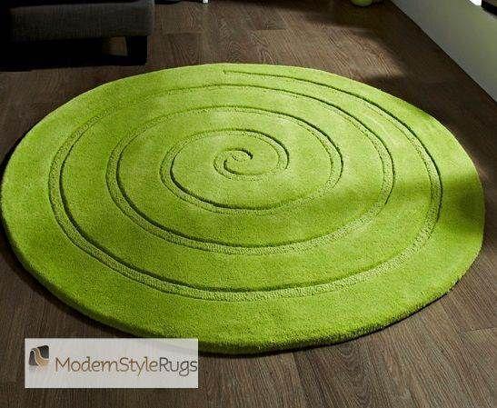 Spiral Green Round Rug