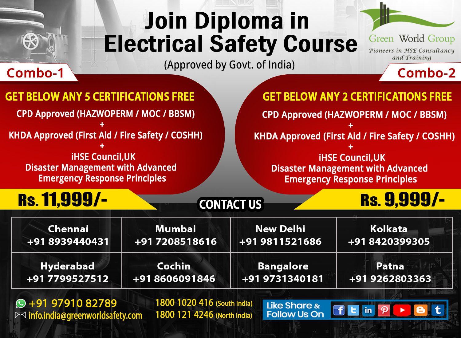 Diploma in Electrical Safety officer training course in