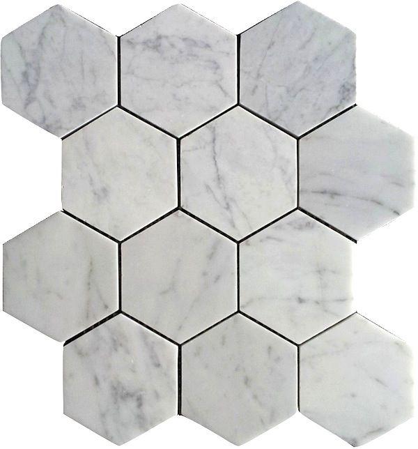bianco honed 4 hexagon marble mosaic