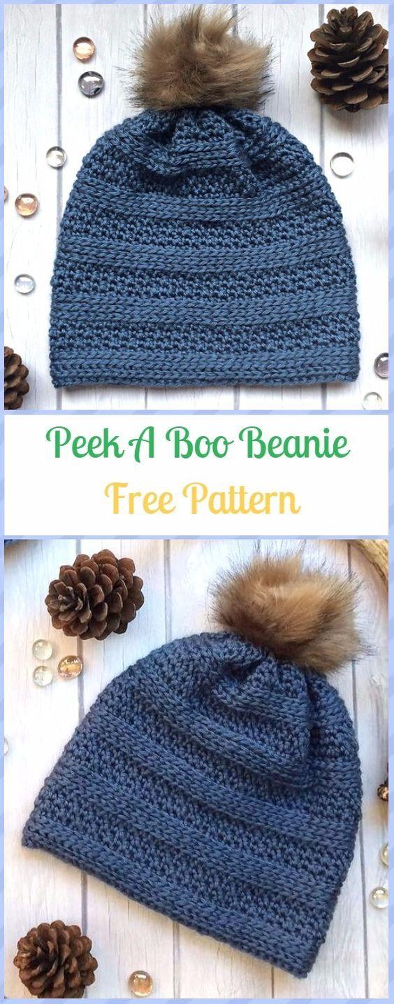 Crochet Peek A Boo Beanie Hat Free Pattern #beaniehats