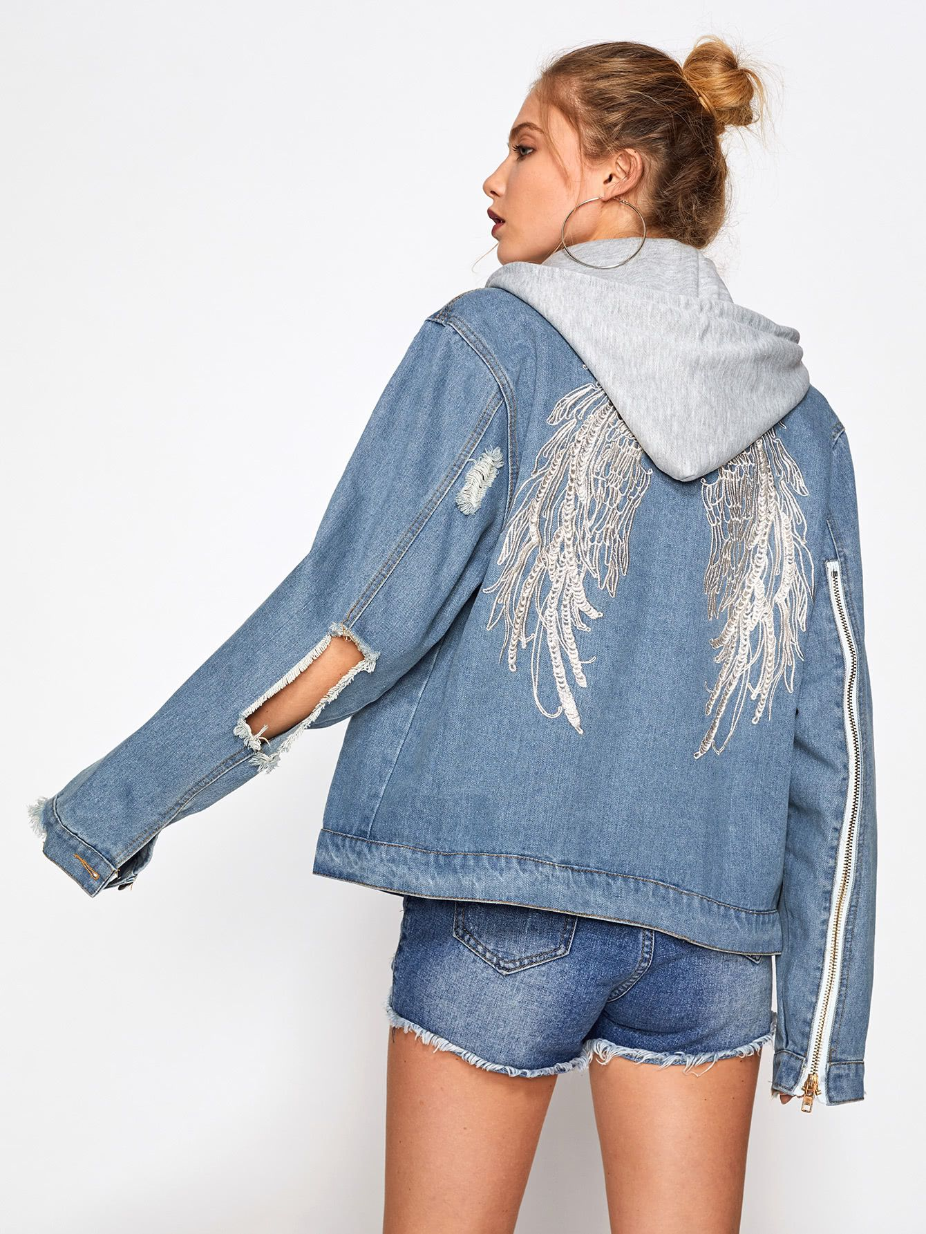 b43bb82d25 Shop Wings Embroidered Back Hooded Denim Jacket online. SheIn offers Wings  Embroidered Back Hooded Denim Jacket & more to fit your fashionable needs.