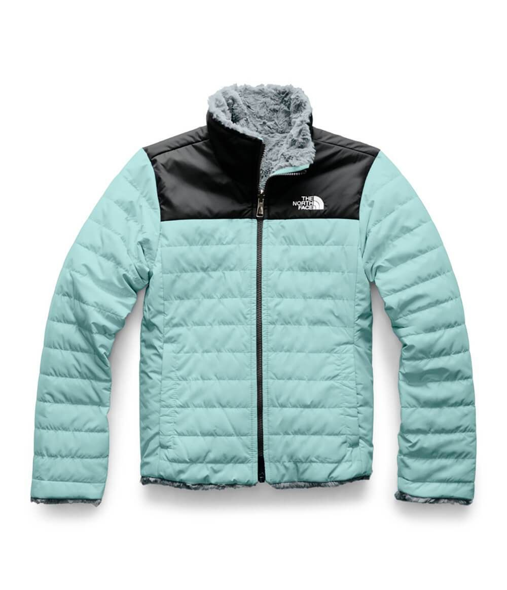 The North Face Reversible Mossbud Swirl Jacket For Girls In Windmill Blue North Face Jacket Womens North Face Jacket Girls Jacket [ 1163 x 1000 Pixel ]