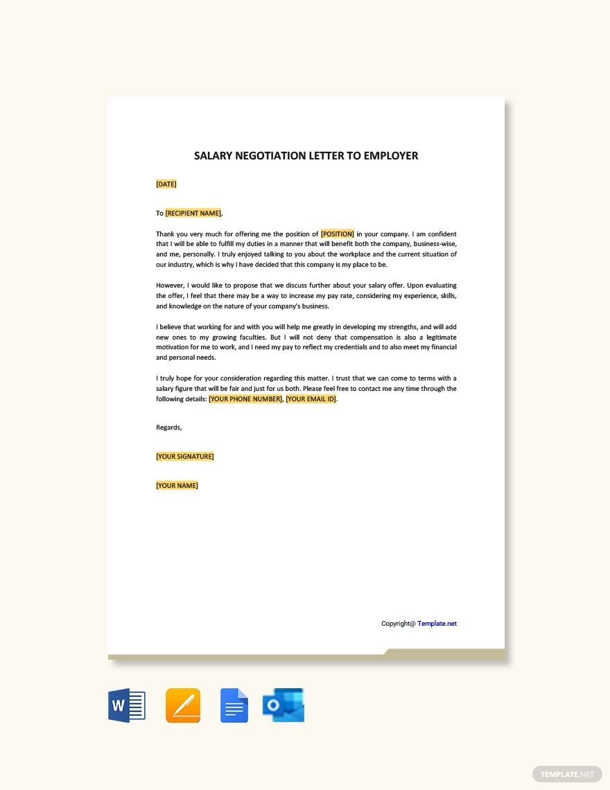 Salary Negotiation Letter Template To Employer Free Pdf Word Doc Apple Mac Pages Google Docs Salary Negotiation Letter Negotiating Salary English Writing Skills