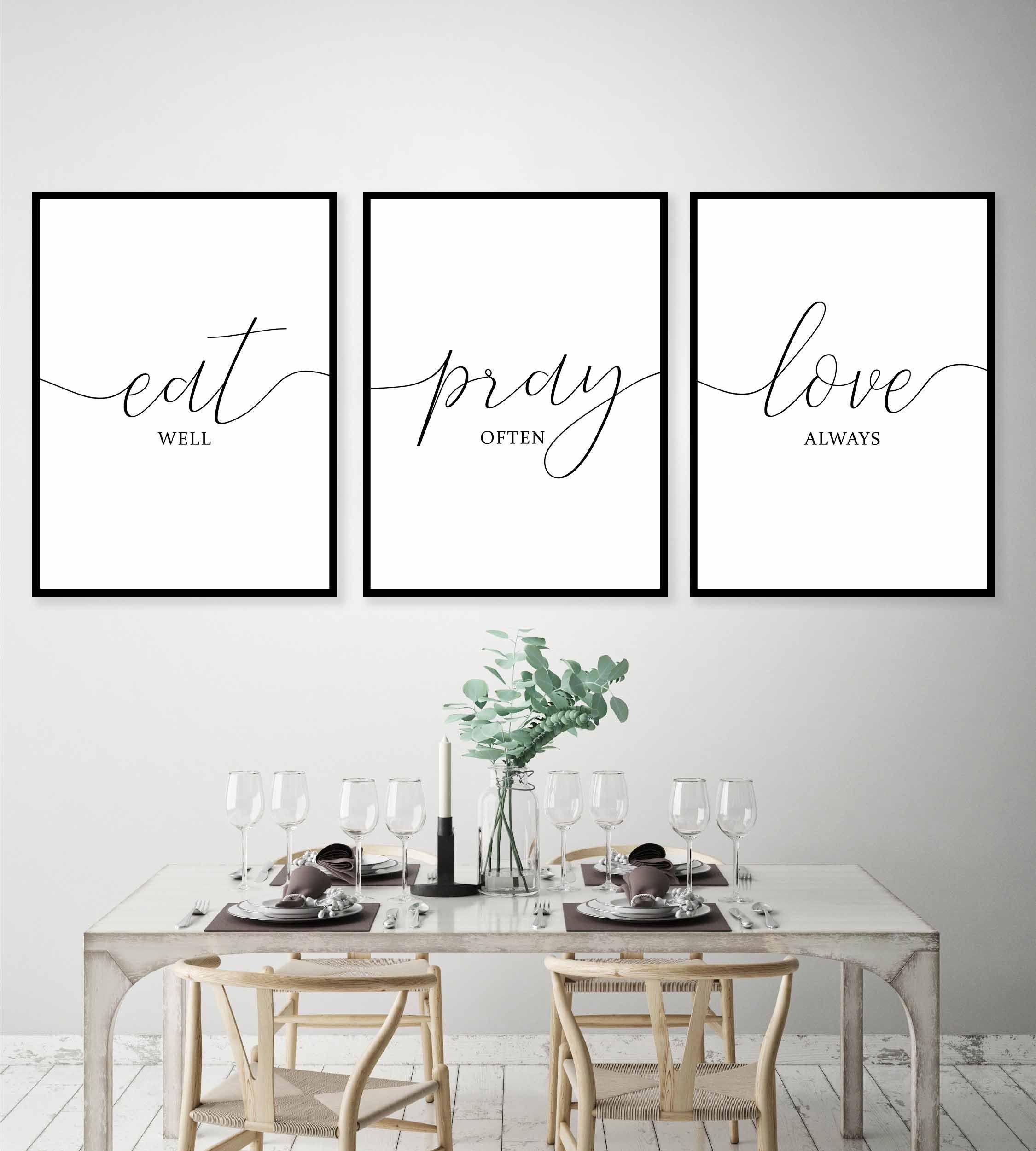 Eat Pray Love Print Kitchen Wall Art Set Of 3 Printable Dining