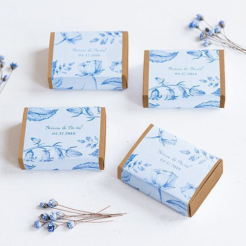 Kraft Drawer-Style Favor Box with Romance Floral Wrap (set of 8)