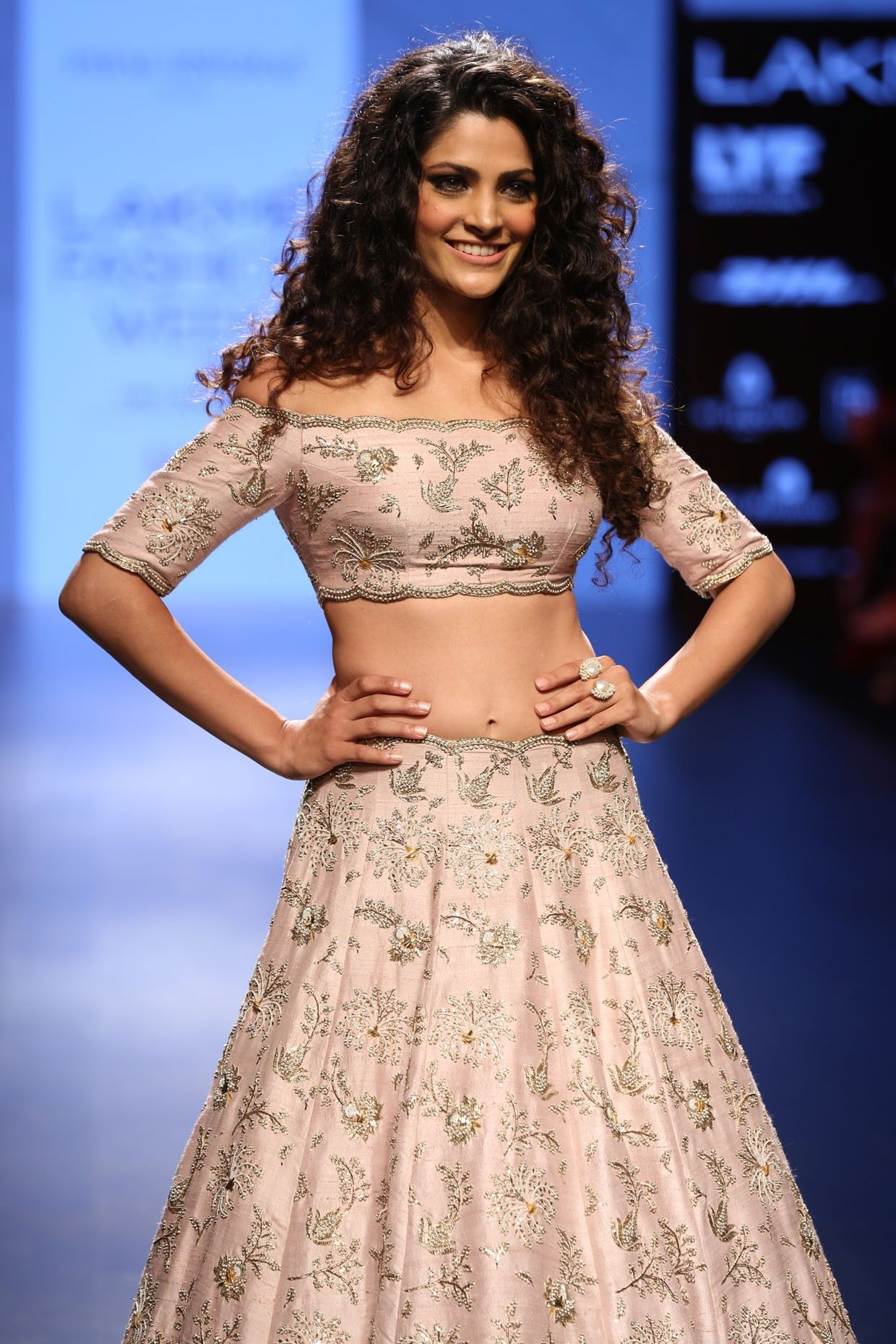 Blush embroidered lehenga and off shoulder choli set available only