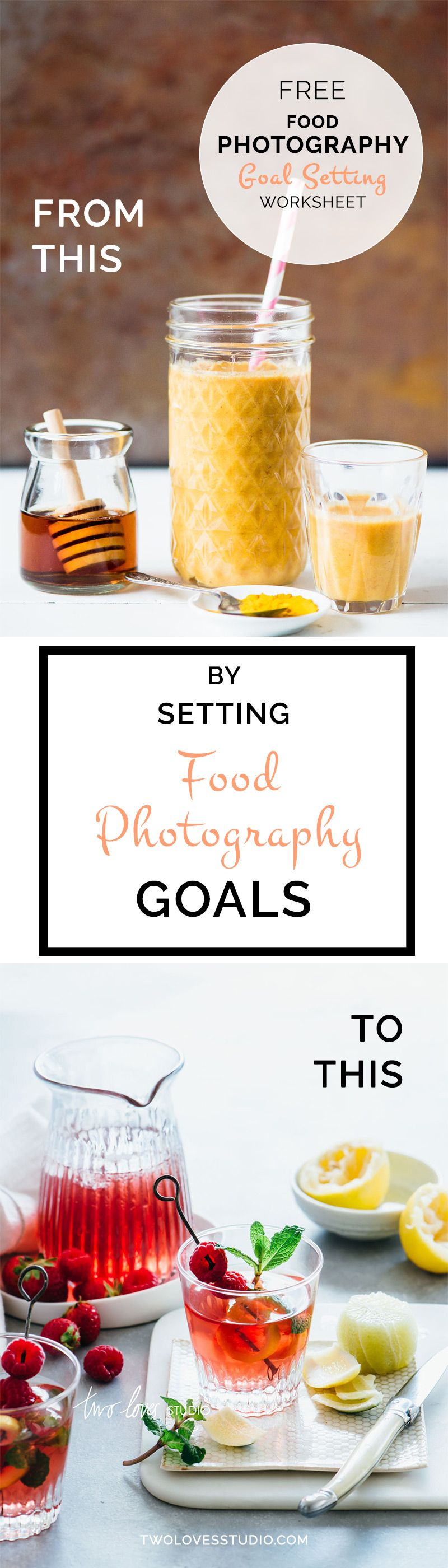 Free Food Photography Goal Setting Worksheet | Click to read the 4 actions that will help you set intentional goals to create better food photography.
