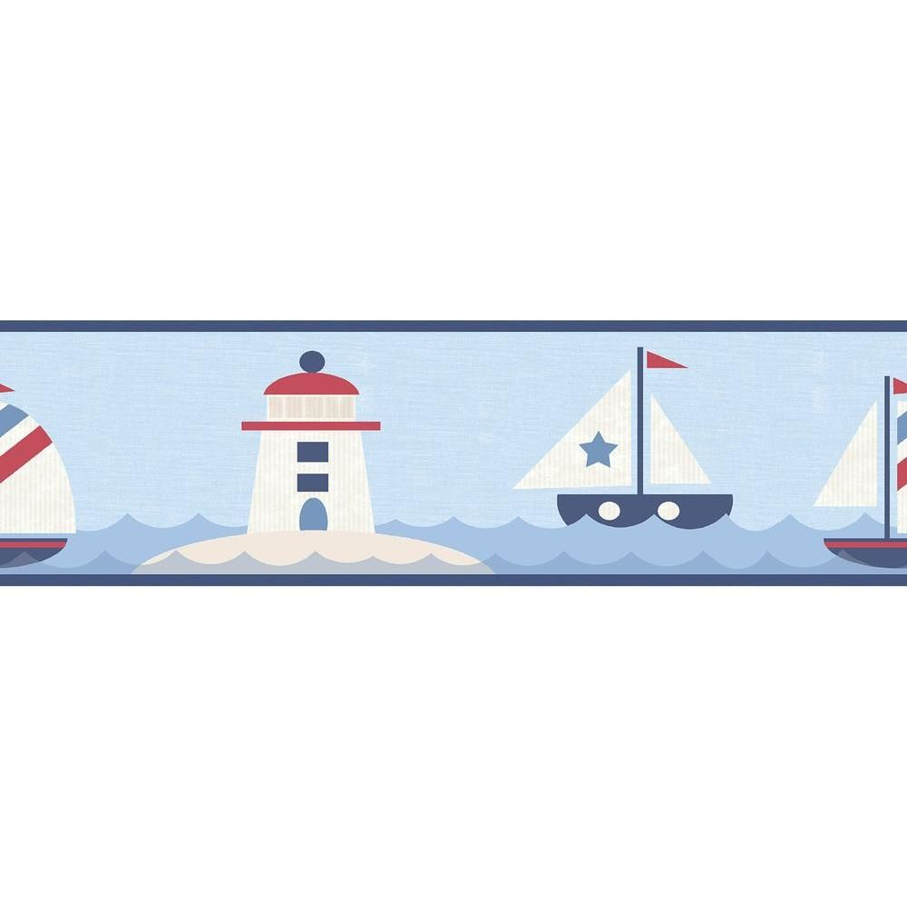 Chesapeake Travis Navy Come Sail Away Wallpaper Border