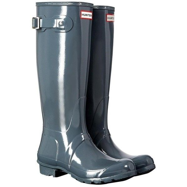 Women's Hunter Original Tall Gloss Wellington Boots ($88) ❤ liked on Polyvore featuring shoes, boots, tall rubber boots, shine boots, rubber boots, wellies boots and short boots