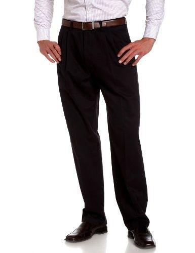 6a668cfc Savane Men's Pleated Wrinkle Free Twill Pant, Navy, 34W 30L, Size ...