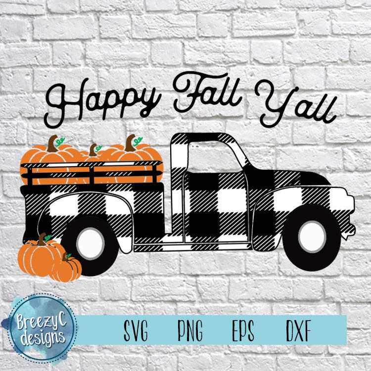 Fall pumpkin truck plaid svg eps dxf png instant etsy in