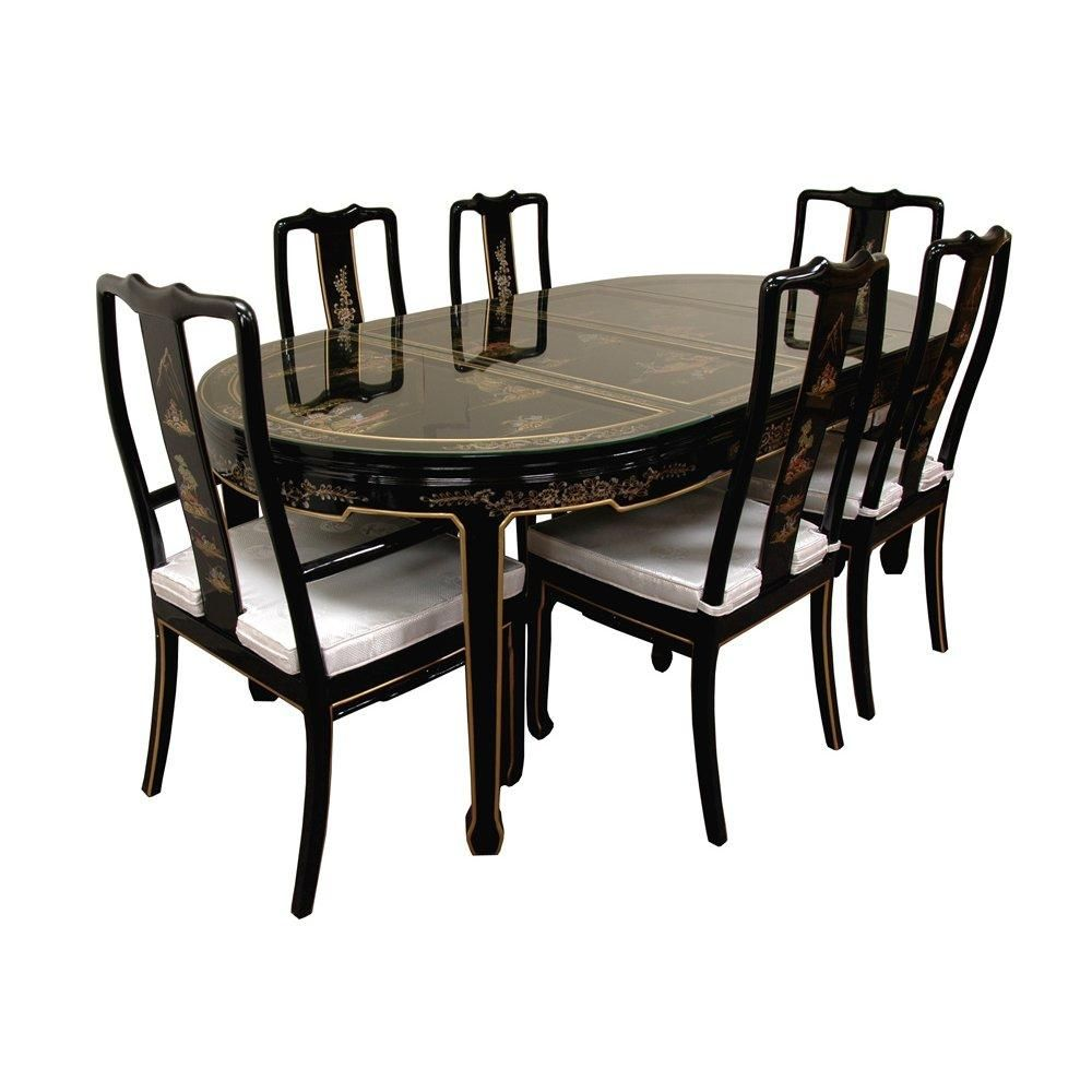 Hand Painted On Black Lacquer Dining Table W 6 Chairs Lacquer Dining Table Dining Table Black Dining Room Sets