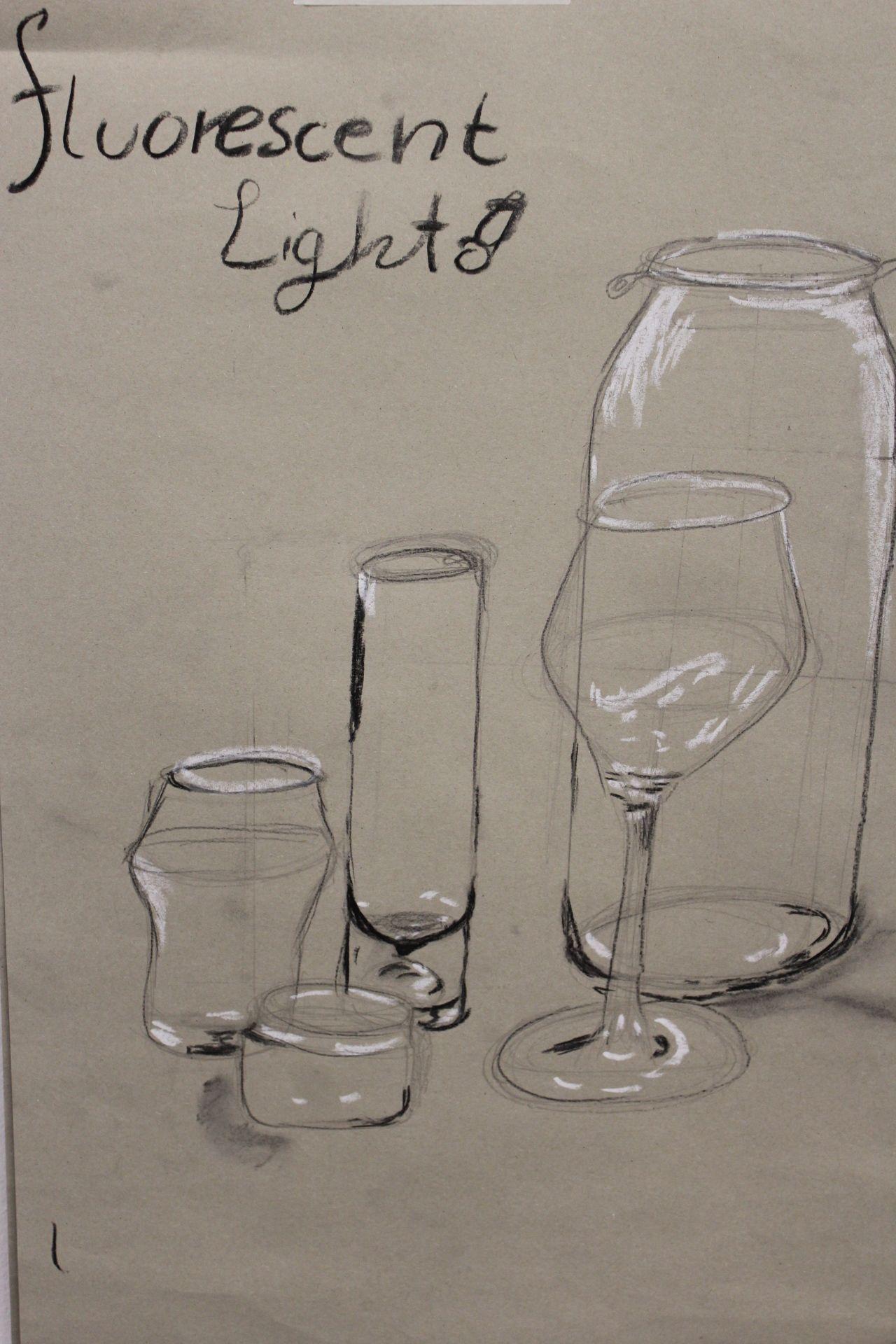 Drawing Bottles With Fluorescent Light Bottles Drawing Fluorescent Light In 2020 Fluorescent Light How To Make Light Glass