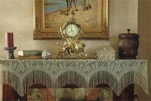 Victorian Style Mantel Scarf Fringe Fireplace