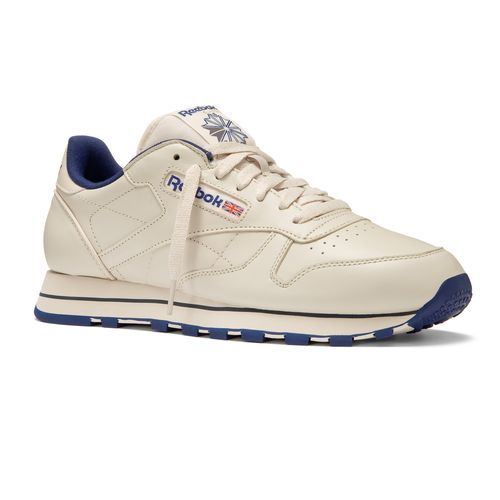 Reebok - Classic Leather Ecru   Navy 28412 - Never go out of style. Soft  garment leather upper gives you superior comfort. Die-cut EVA midsole  provides ... daab80c252