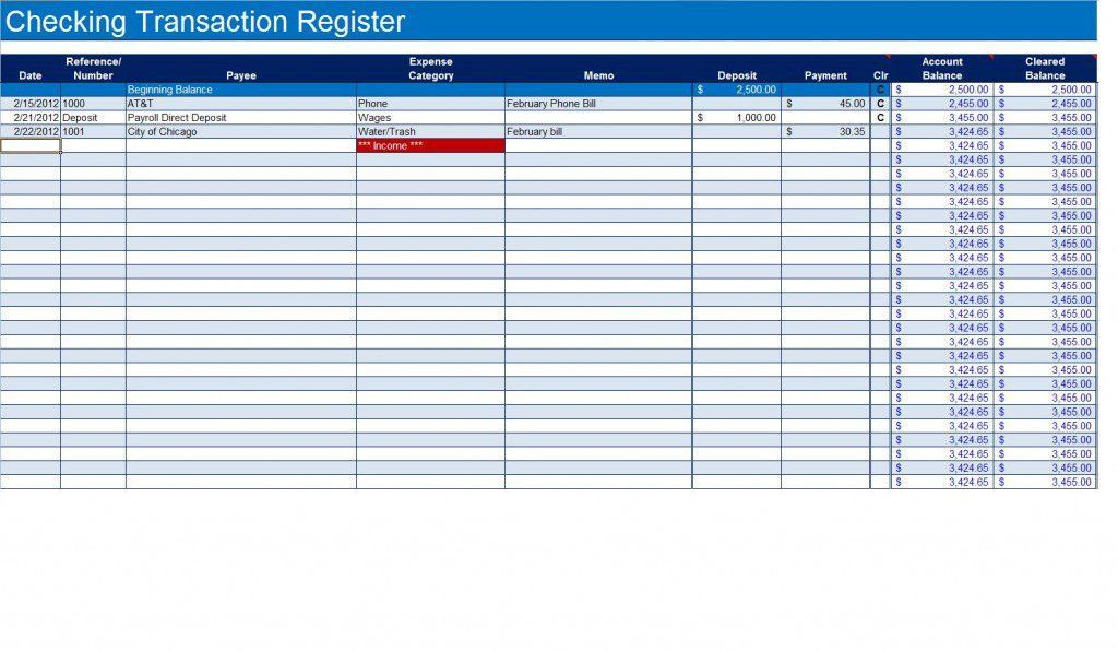How To Create A Checkbook Register In Excel Checkbook Register Check Register Checkbook