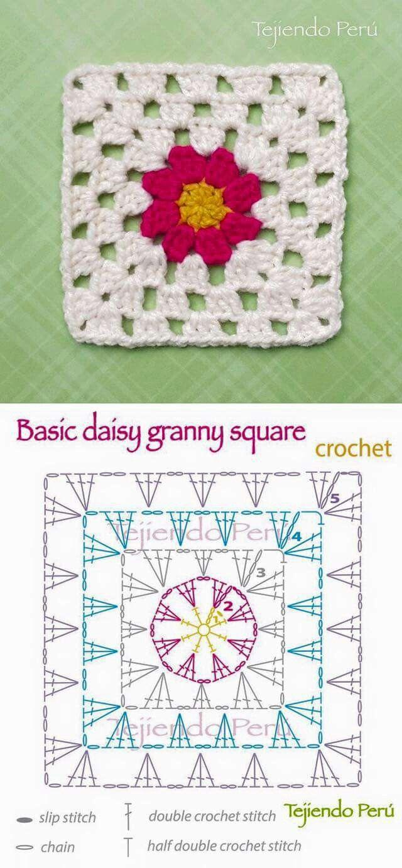 Cuadrado crichet1 | Crochet | Pinterest | Cuadrados, Ganchillo y ...