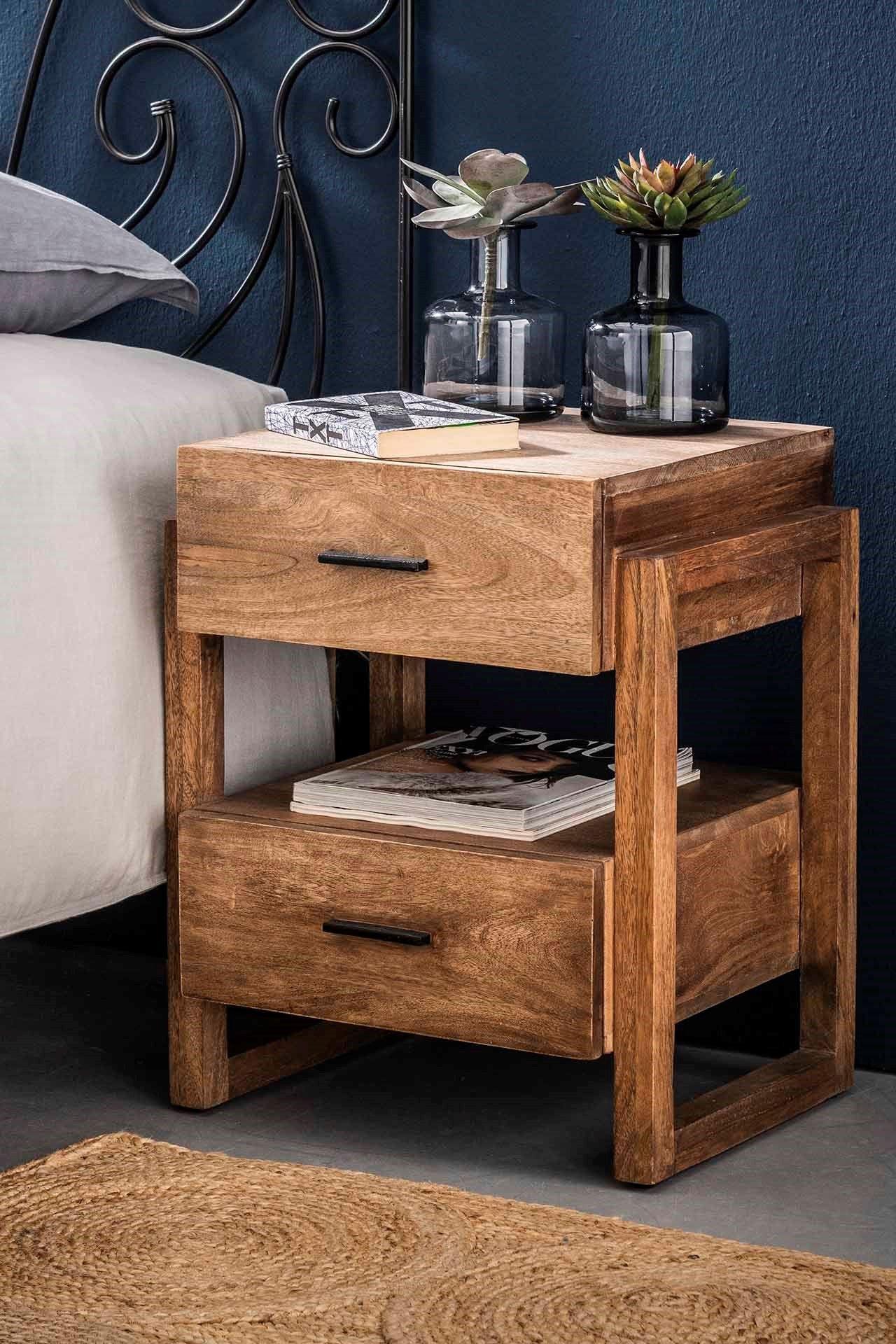 table de chevet bois sable 2 tiroirs