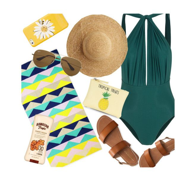 """""""015"""" by rl-m ❤ liked on Polyvore featuring Lenny, Kate Spade, Sunnylife, Flora Bella, Ray-Ban, Aéropostale, New Look, contest, beach and swim"""