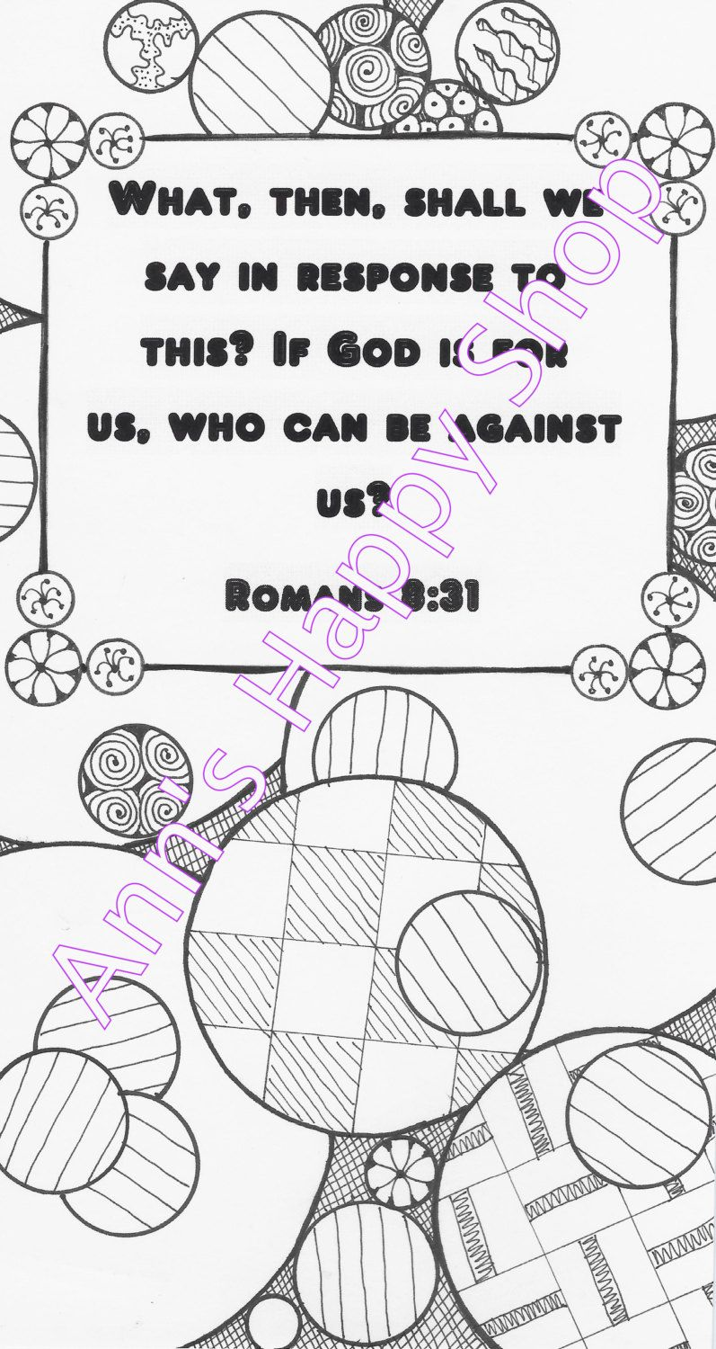 bible memory verse coloring page romans 8 31 by annshappyshop