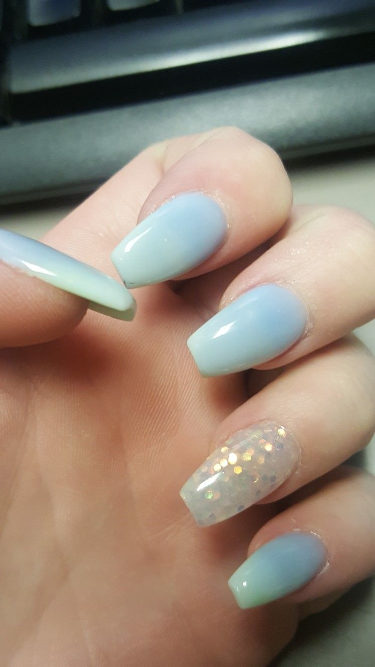 Blue Green Ombre Acrylic Nails Notpolish Nails Acrylic Nails Ombre Acrylic Nails