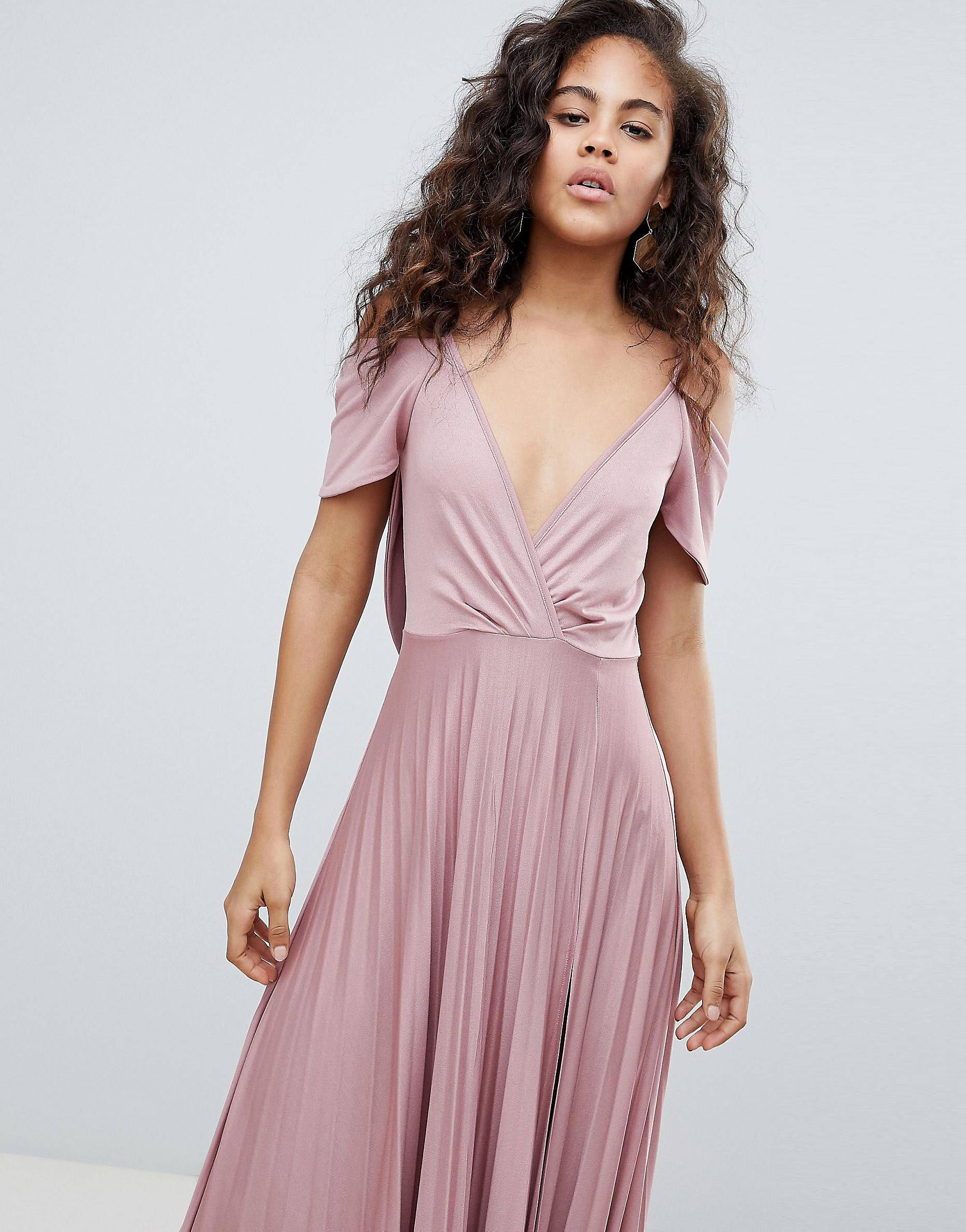 Design tall cold shoulder cowl back pleated maxi dress in
