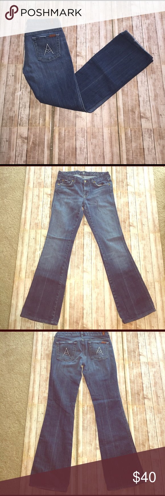 """7 FAM 7 for all mankind """"A"""" pocket, some wear on bottom back legs, otherwise in Great condition, inseam 30, rise 7.5, leg opening 18, length 38 7 For All Mankind Jeans"""
