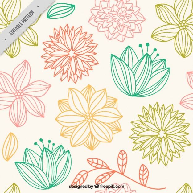 Hand drawn cute flowers pattern 大人な花デザインだ