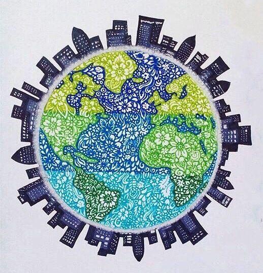 Dibujo Del Planeta Tierra Art En 2019 Mandala Globe Art Y Drawings