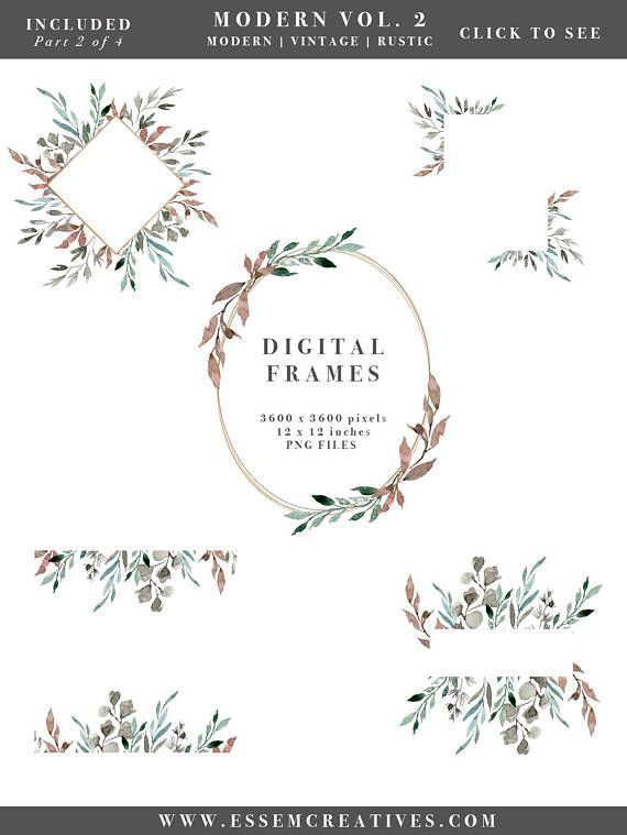 Watercolor Leaf Wreath Clipart Greenery Leaves Wedding Invitation Winter Rustic