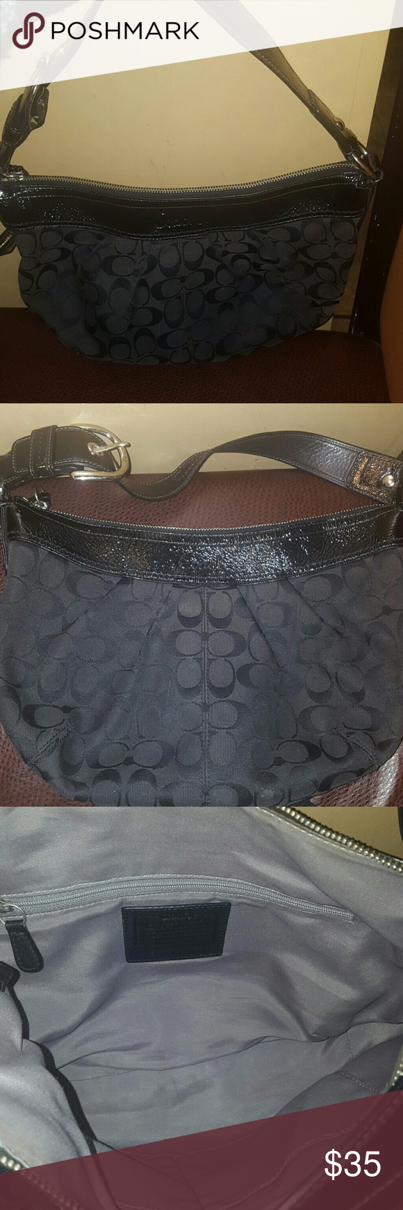 Coach signature hobo bag Selling a authentic shoulder hobo bag . Im not sure the exact name of the bag. I've had it for a little while . No stains or rips on the outside , smoke free home, no pets hair . The inside of the bag is in good condition expect for a little stain in picture 3. I will try to clean it . Not sure what's it from.  I will post measures when I'm home. The bag is wearable with the strap.  It's a really nice bag Coach Bags Hobos