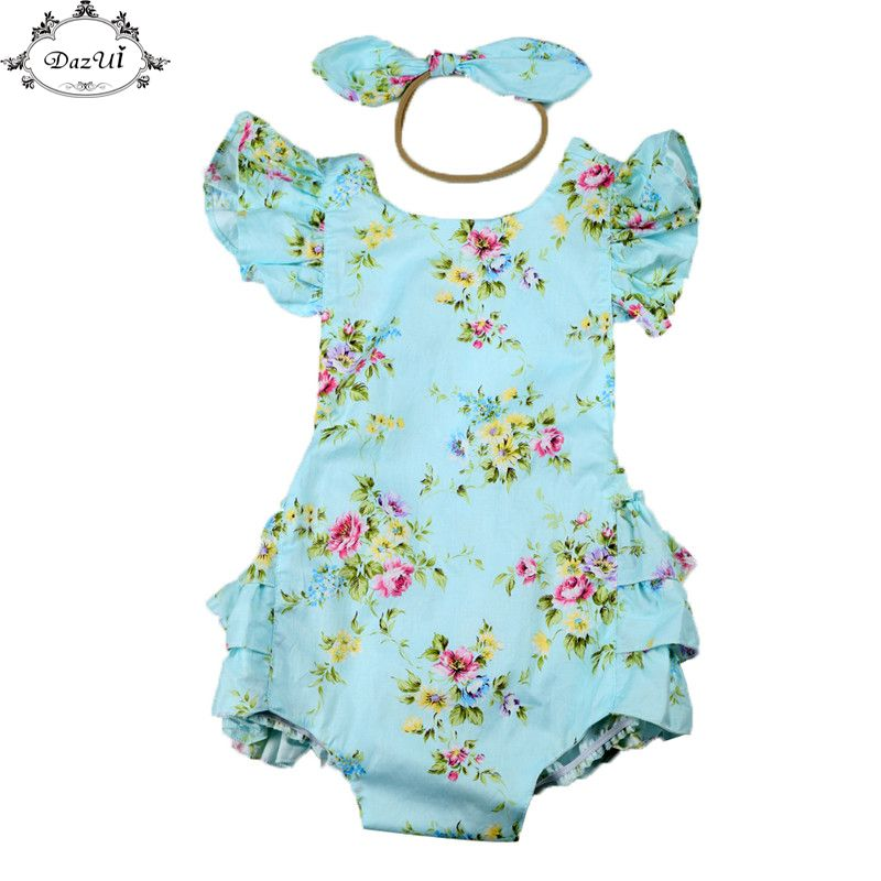 78e4e892bca Baby Clothes Floral Ruffle Sleeve Girls Sunsuit Set Summer Children Clothing  Backless Girls Jumpsuit Romper Bow