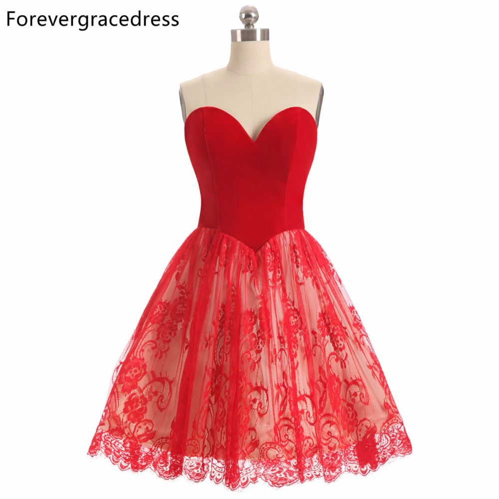 Red lace dress plus size  Click to Buy ucuc Forevergracedress  A Line Red Color Lace