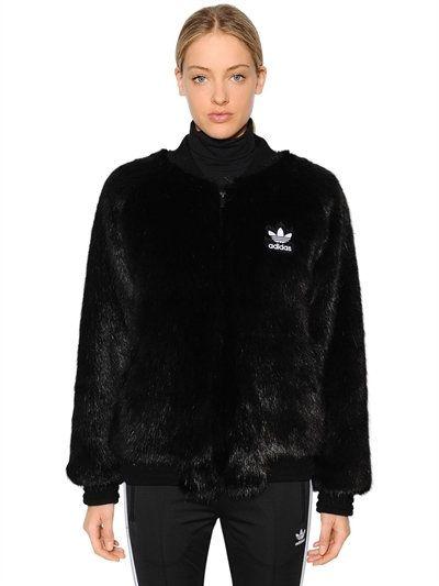 1325ea6f4 ADIDAS ORIGINALS Sst Faux Fur Bomber Jacket, Black. #adidasoriginals ...