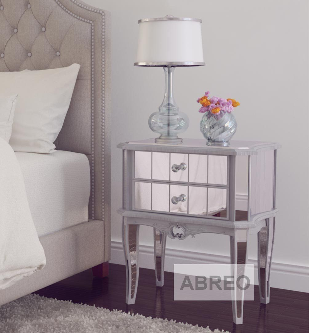 Terrific Mirror Silver Trim Bedroom Furniture Bedside Table Console Home Interior And Landscaping Ponolsignezvosmurscom