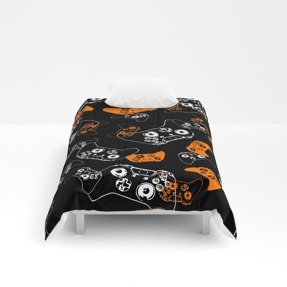 Video Game Comforter, Black Gamer Décor, Orange Gamer Room, Gaming Bedding, Gamer gifts, Video Game Blanket, Video Game Room, Gaming Bedroom #gamerroom