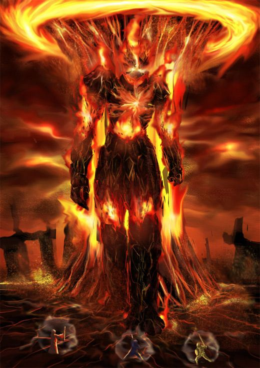 30 blazing fire colossus illustrations for inspiration