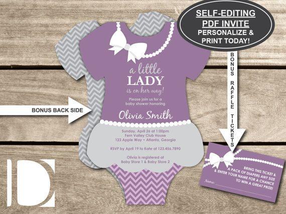 Little Lady Baby Shower Invitation Onesie Invite Pearls Skirt