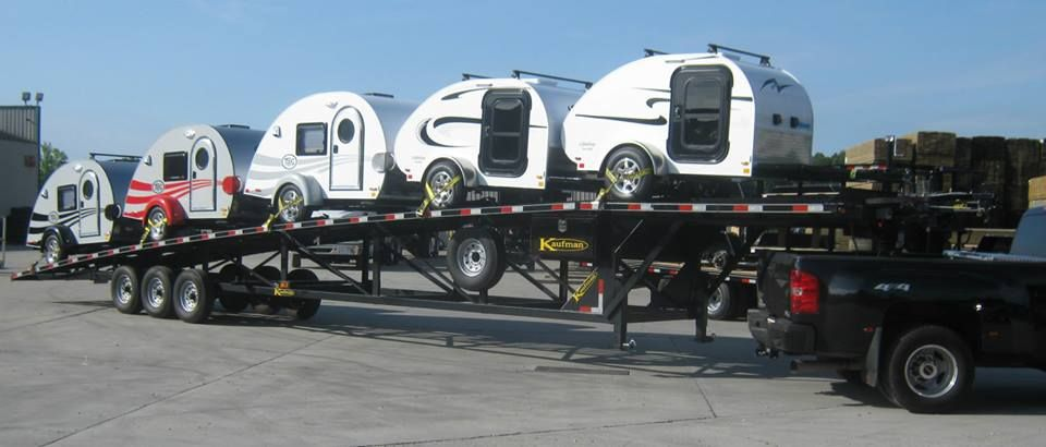 Kaufman Wedge Car Hauler Hauling 5 Little Guy Campers See All Of