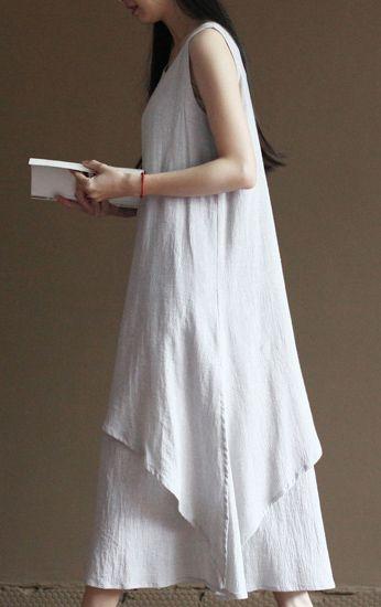 Maxi linen a cut dresses