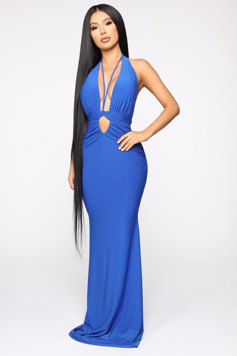 Call The Limo Halter Maxi Dress Royal in 2020 Dresses