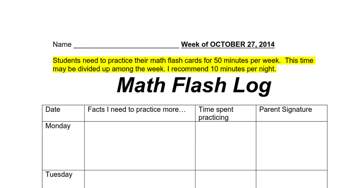 Math Flash Log Students Keep Track Of Progress With Flashcards They Can Record Facts They Need To Practice And Time Spe Eureka Math Math Eureka Math Grade 1